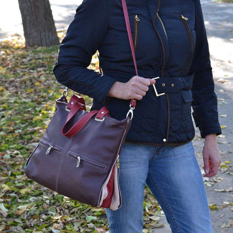 geanta din piele naturala cu fermoare metalice laterale