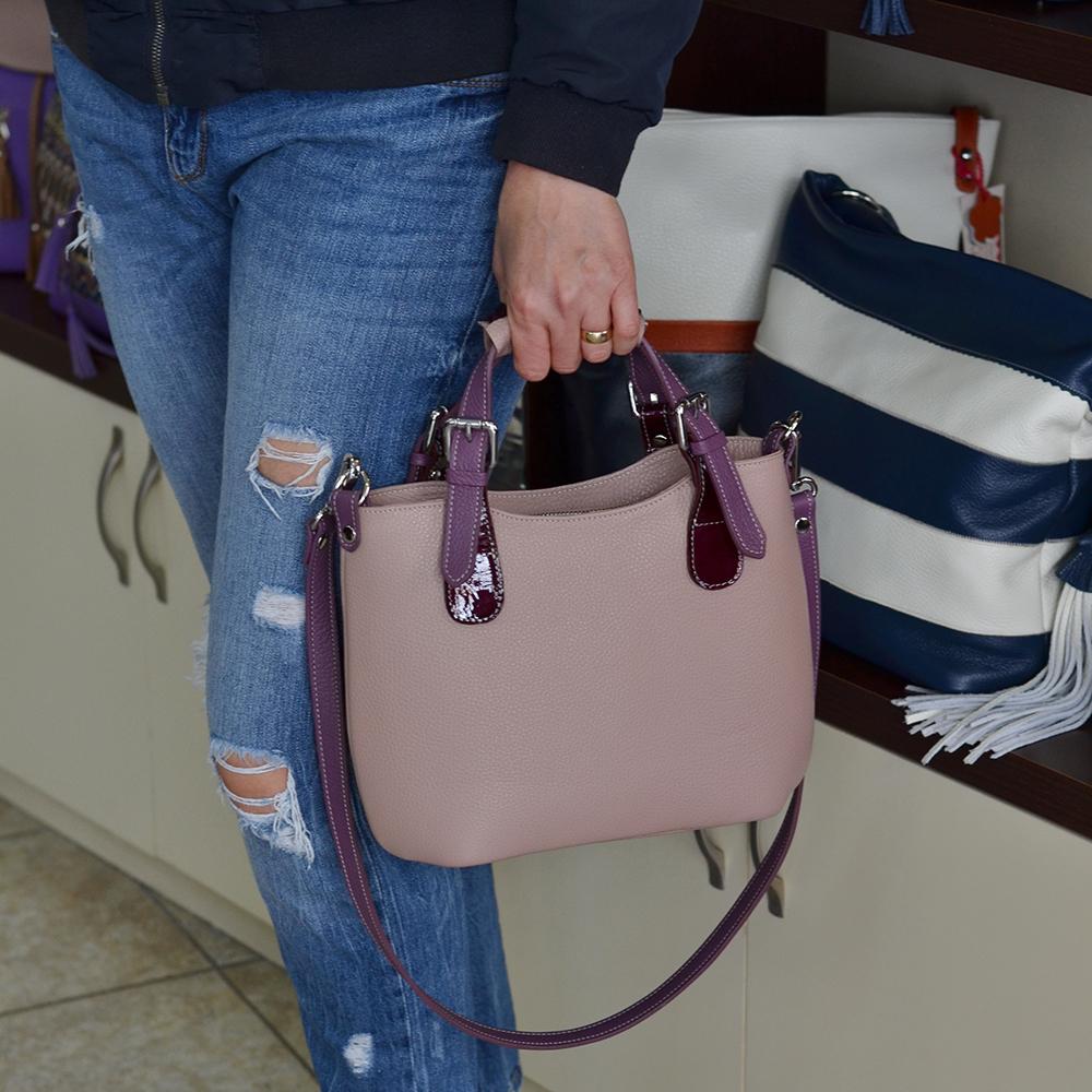 geanta de mana din piele cu catarame metalice